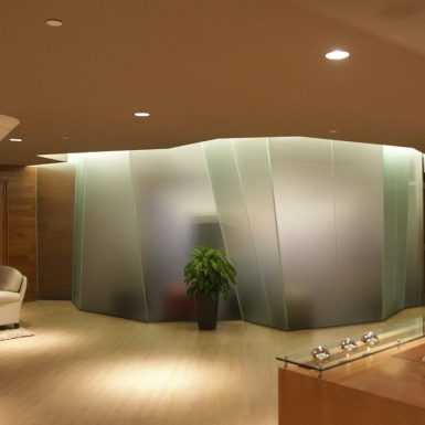 Faceted glass Lobby