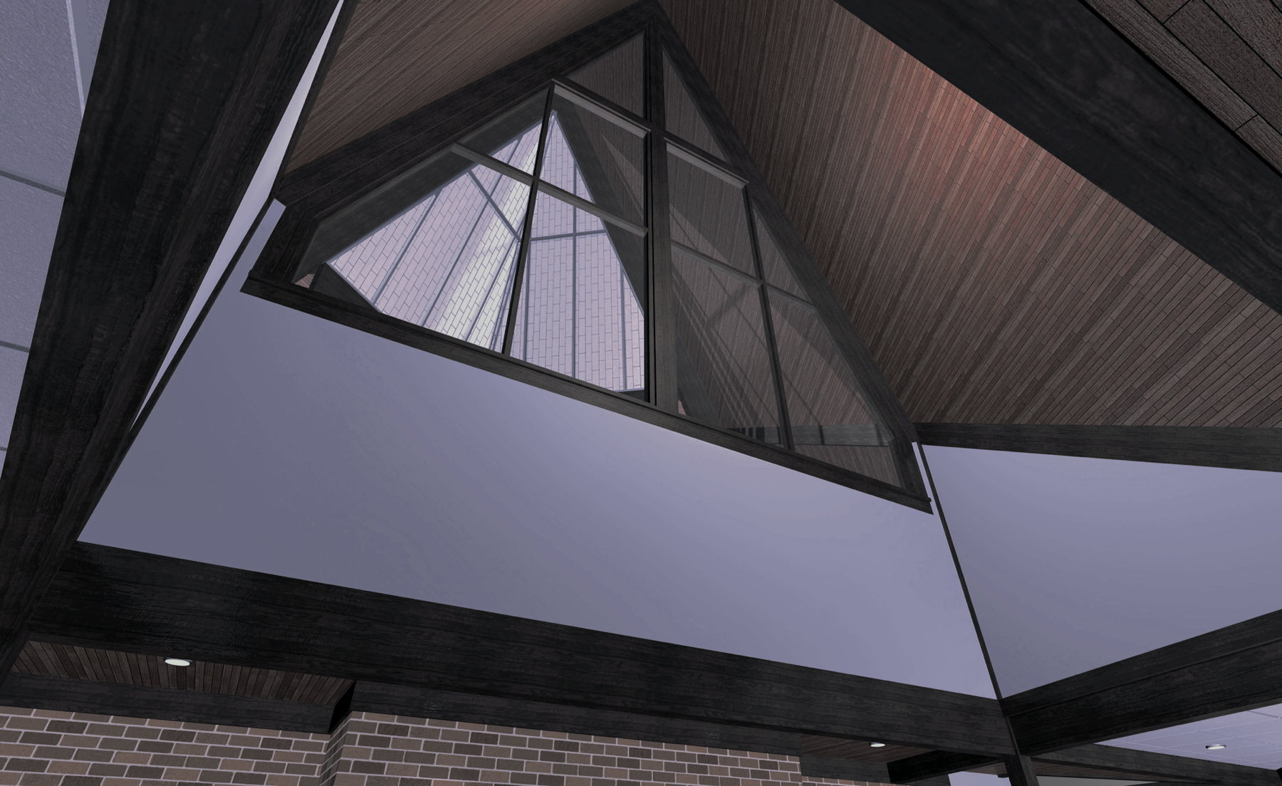 Interior glazing designed to share Sanctuary skylight with Lobby
