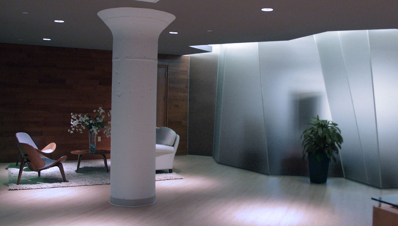 Glazed curtain divides Lobby from Conference Room, as designed by Childress & Cunningham, Inc.