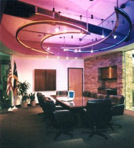 Conference room ceiling lighting and HVAC